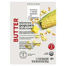 Wholesome Pantry Organic Microwave Popcorn, Butter, 9.9 Ounce