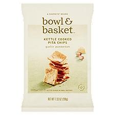 Bowl & Basket Pita Chips Garlic Parmesan Kettle Cooked, 7.3 Ounce