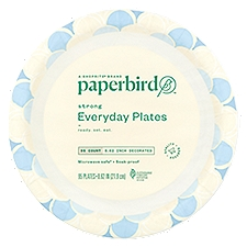 Paperbird Plates 8.62 Inch Decorated Strong Everyday, 95 Each
