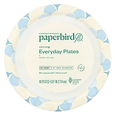Paperbird Plates 6.87 Inch Decorated Strong Everyday, 48 Each