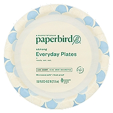 Paperbird Plates 8.62 Inch Decorated Strong Everyday, 150 Each