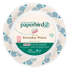 Paperbird Plates 10.06 Inch Decorated Strong Everyday, 24 Each
