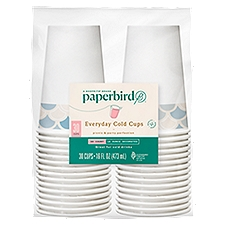 Paperbird Cups 16 Ounce Decorated Everyday Cold, 30 Each