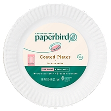 Paperbird Plates 9 Inch White Coated, 100 Each