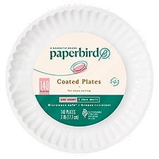Paperbird Plates 7 Inch White Coated, 140 Each