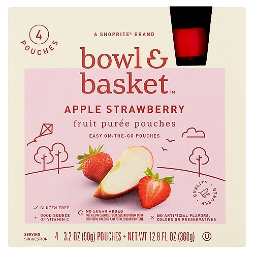 Bowl & Basket Apple Strawberry Fruit Puree Pouches, 3.2 oz, 4 count