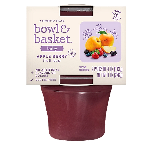 Bowl & Basket Apple Berry Fruit Cup Baby Food, 6+ Months, 4 oz, 2 count