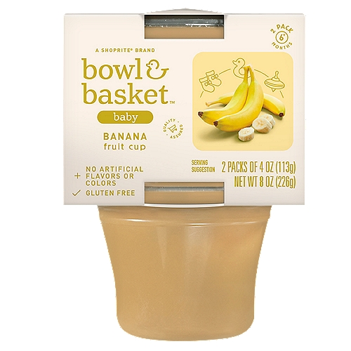 Bowl & Basket Banana Fruit Cup Baby Food, 6+ Months, 4 oz, 2 count