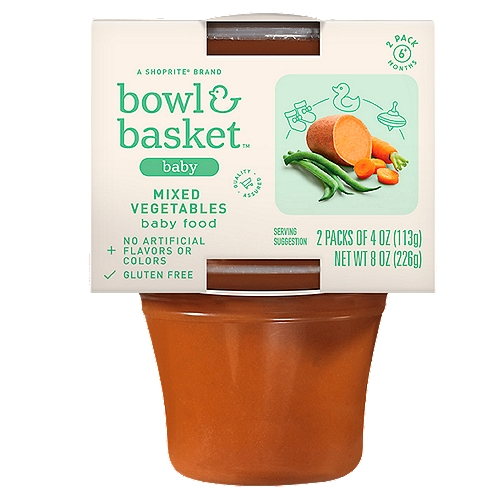 Bowl & Basket Mixed Vegetables Baby Food, 6+ Months, 4 oz, 2 count