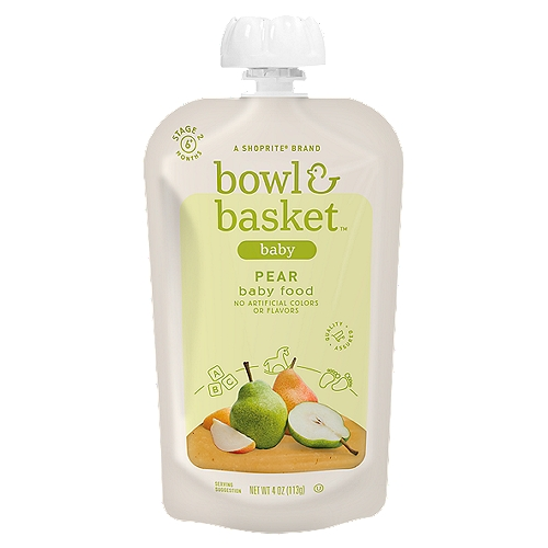 Bowl & Basket Pear Baby Food, Stage 2, 6+ Months, 4 oz