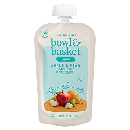 Bowl & Basket Apple & Pear Baby Food, Stage 2, 6+ Months, 4 oz