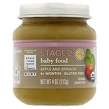 Wholesome Pantry Organic Baby Food, Apple and Spinach Stage 2 6+ Months, 4 Ounce