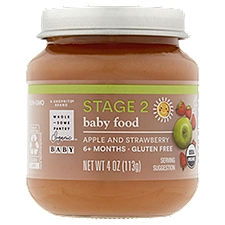 Wholesome Pantry Organic Baby Food, Apple and Strawberry Stage 2 6+ Months, 4 Ounce
