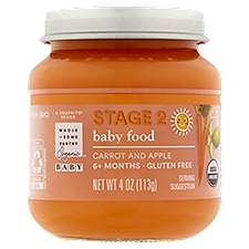 Wholesome Pantry Organic Baby Food, Carrot and Apple Stage 2 6+ Months, 4 Ounce