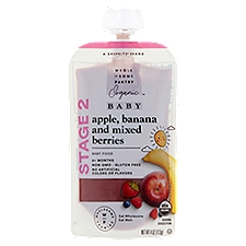 Wholesome Pantry Organic Baby Food, Apple Banana and Mixed Berries Stage 2 6+ Months, 4 Ounce