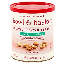 Bowl & Basket Cocktail Peanuts, Low Sodium Lightly Sea Salted Roasted, 16 Ounce