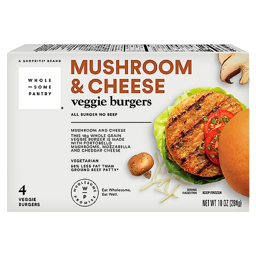 This 18 g whole grain veggie burger is made with portobello mushrooms, mozzarella and cheddar cheese. 58% less fat than ground beef patty (80% lean ground beef patty contains 14 g total fat per serving [71 g].