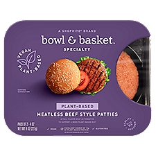 Bowl & Basket Specialty Patties, Plant-Based Meatless Beef Style, 8 Ounce
