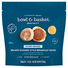 Bowl & Basket Specialty Breakfast Patties, Plant-Based Meatless Sausage Style, 10.64 Ounce