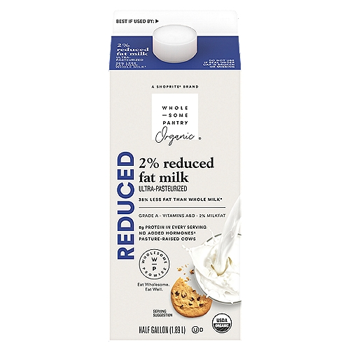 Ultra pasteurized. Vitamins A&D. Homogenized. Grade A. 38% less fat than whole milk. Produced without: antibiotics; synthetic hormones; synthetic pesticides. USDA organic. No rBST. Product of USA.