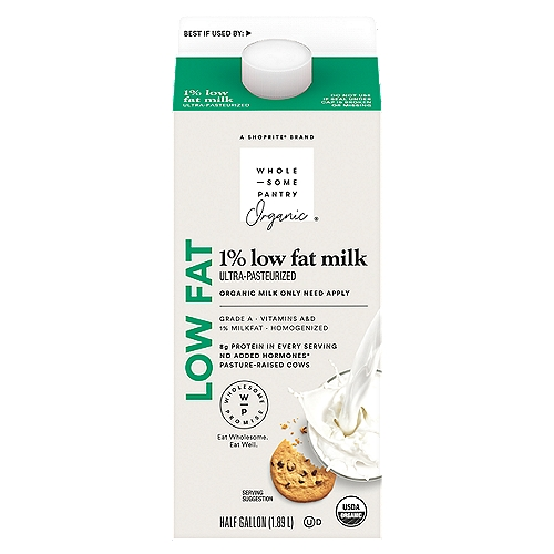 Ultra pasteurized. Vitamins A&D. Grade A. Produced without: antibiotics; synthetic hormones; synthetic pesticides. USDA organic. No rBST. Product of USA.