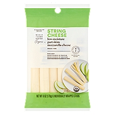 Wholesome Pantry Organic String Cheese - Mozzarella, 6 ct, 6 Ounce
