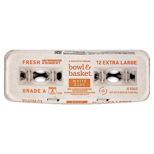 Bowl & Basket Fresh White Eggs, Extra Large, 12 count, 27 oz