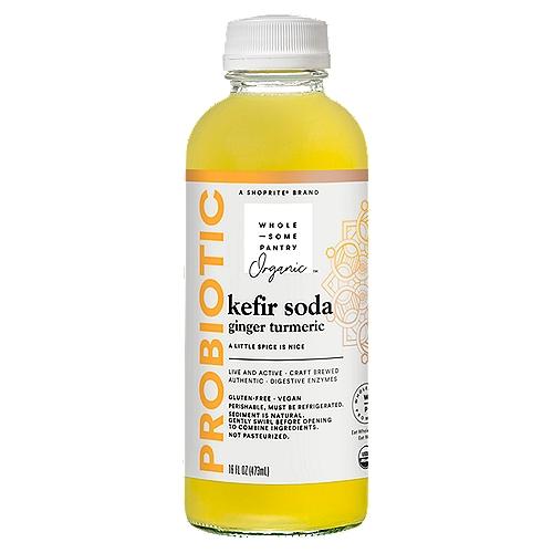 Wholesome Pantry Organic Probiotic Ginger Turmeric Kefir Soda, 16 fl oz