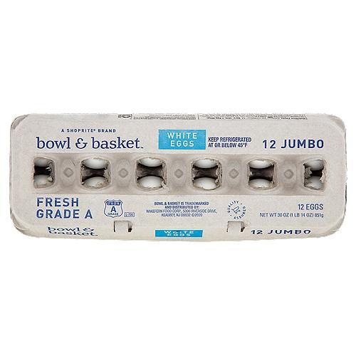 Bowl & Basket Fresh White Eggs, Jumbo, 12 count, 30 oz