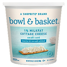 Bowl & Basket Cottage Cheese Lowfat & No Salt Added Small Curd, 24 Ounce