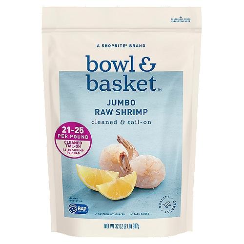 Bowl & Basket Cleaned & Tail-On Raw Shrimp, Jumbo, 42-50 shrimp per bag, 32 oz