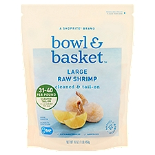 Bowl & Basket Raw Shrimp, Cleaned & Tail-On Large, 16 Pound