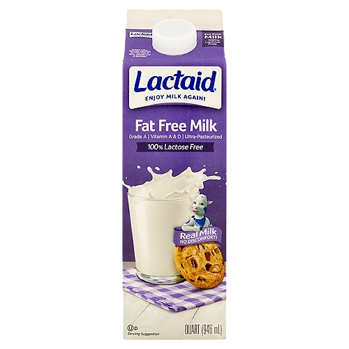 100% Lactose free. Grade A. Vitamins A&D. Ultra-pasteurized.
