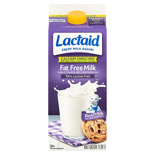 1/2 Gallon - Grade A. Calcium fortified. Vitamins A & D. 100% lactose free. Ultra-Pasteurized.