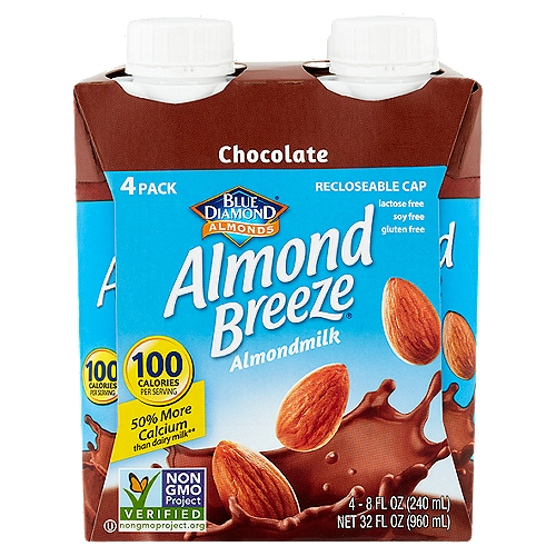 Almondiciously Good!™; Recloseable Cap; Made from Real Almonds; Protects What's Good Tetra Pak®; A Package from Tetra Pak; One Step Easy Open Cap