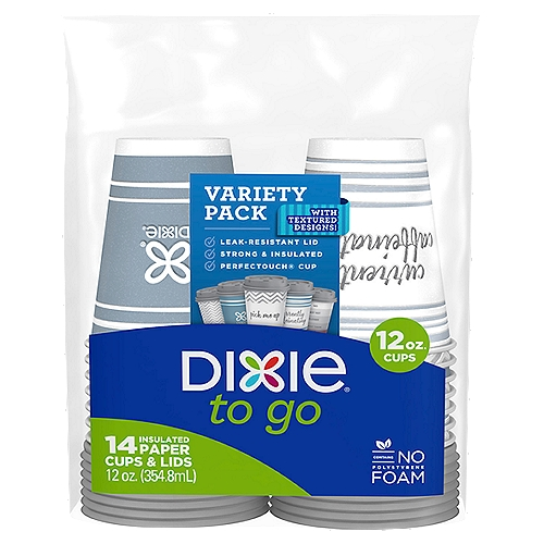 Dixie to go cups and lids are reliably designed to go with you, so you can enjoy your day without being distracted by spills or messes.