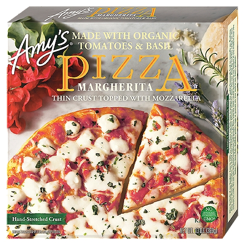 Based on the original Pizza Napoletana,and made from scratch, it has a light, tender crust made from organic wheat flour and hand-stretched before being baked. Soy free and tree nut free.