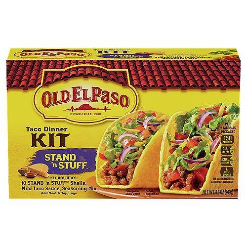 Kit Includes: 10 taco shells; mild taco sauce; seasoning mix