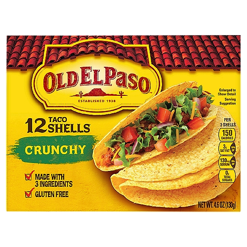 Made with Whole Grain Corn. Made with only three ingredients. Gluten Free. Bake shells before eating for extra crunch!