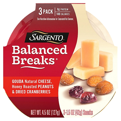 This snack is something special. We paired creamy, buttery Gouda with sweet, crunchy honey roasted peanuts and tart dried cranberries for protein to keep you going and flavor that keeps you smiling, Convenient individual-sized snack trays come in a 3-count package, each containing less than 200 calories per servings and 8 grams of protein. (See nutrition info for total fat and saturated fat content. Not a low calorie food.) Gouda Natural Cheese, Honey Roasted Peanuts & Dried Cranberries Snacks