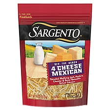 Sargento Off the Block 4 Cheese Mexican Fine Cut Shredded Cheese, 8 Ounce
