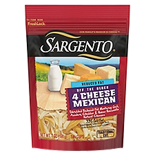 Sargento Reduced Fat 4 Cheese Mexican Shredded Cheese, 7 Ounce