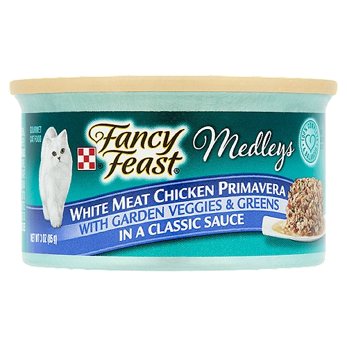 White meat chicken recipe, accented with garden veggies and greens in a savory gravy. Offers 100% Complete and Balanced Nutrition for Adult Cats. Easy to Open Pull Tab Can.