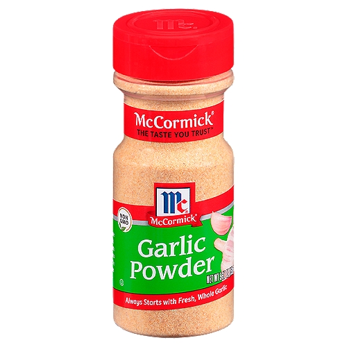 Garlic powder is an easy way to bring garlic's rich essence to any recipe. Quality is everything with this spice. McCormick garlic powder is whole, quality garlic cloves that have been dried and ground. As a result, you'll find vibrant, aromatic garlic in every bottle.