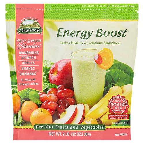 Campoverde Fruit & Veggie Blenders provide the perfect balance of fruits and vegetables. Our Energy Boost Blend is a tasty combination of spinach, bananas, apples, grapes and mandarins. It's delicious and nutritious.