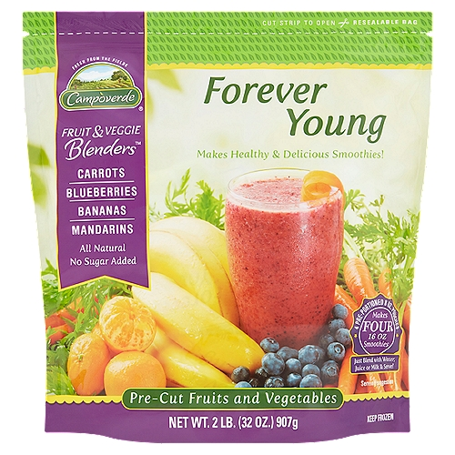 Campoverde Fruit & Veggie Blenders provide the perfect balance of fruits and vegetables. Our Forever Young Blend is a tasty combination of carrots, blueberries, bananas and mandarin oranges. It's delicious and nutritious.