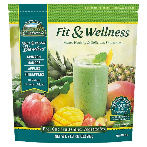 Campoverde Fruit & Veggie Blenders provide the perfect balance of fruits and vegetables. Our Fit & Wellness Blend is a tasty combination of spinach, mangos, apples and pineapples. It's delicious and nutritious.