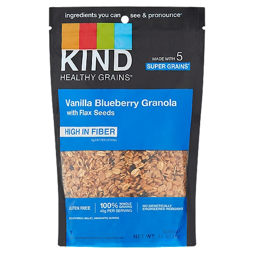 Five grains (Amaranth, Quinoa, Oats, Millet, and Buckwheat). No gluten ingredients. Non-GMO. Low glycemic