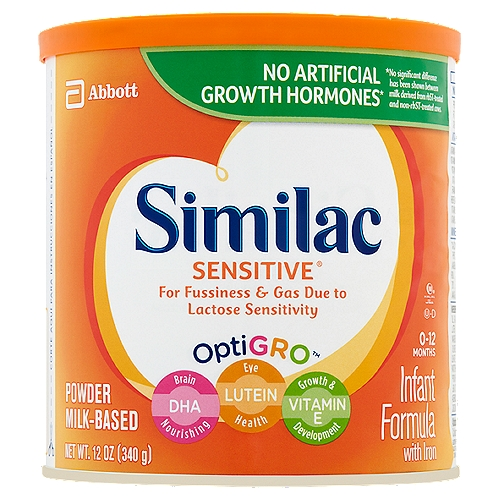 Similac Sensitive Infant Formula is a milk-based formula for your baby's first year that is specially designed for fussiness and gas due to lactose sensitivity