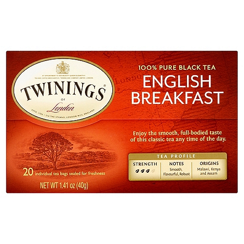 Medium flavor strength. 20 Individually wrapped tea bags. 1.41 oz.